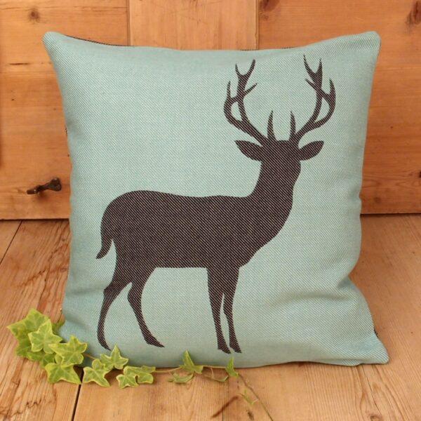 Federa cuscino fantasia cervo, turchese nero, stile tirolese
