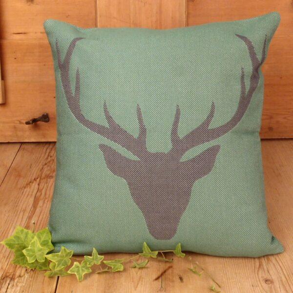 Federa, cuscino, testa di cervo, verde oliva e antracite, stile tirolese