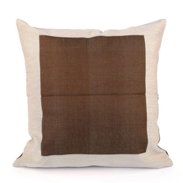 """""""Fanis"""" federa cuscino in cotone fantasia bordo/cornice colore marrone doubleface"""