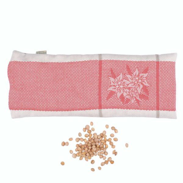 """Noccioli di ciliegia, sfoderabile, fantasia """"stella alpina"""" rosso, 100% cotone jacquard"""
