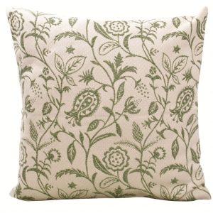 federa cuscino in cotone tessuto jacquard, fantasia floreale, melograno, verde mela