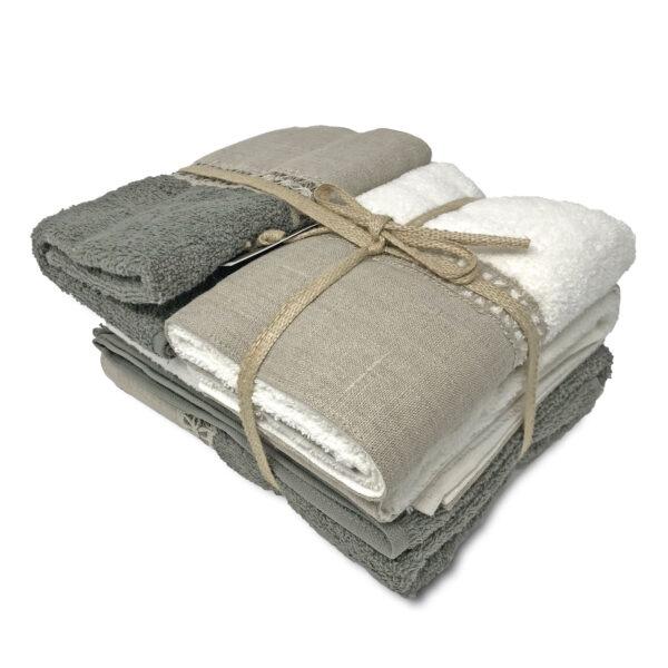 Set asciugamani in spugna con bordo in lino e cigliuccio, 2x asiug. ospite + 2x asicug. viso, colore grigio beige bianco
