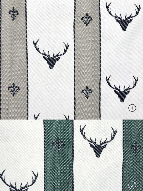 Tende Tendaggi su misura online, cuscini e stoffe per tende, in 100% cotone, stile tirolese montagna, fatasia cervi, diversi colori