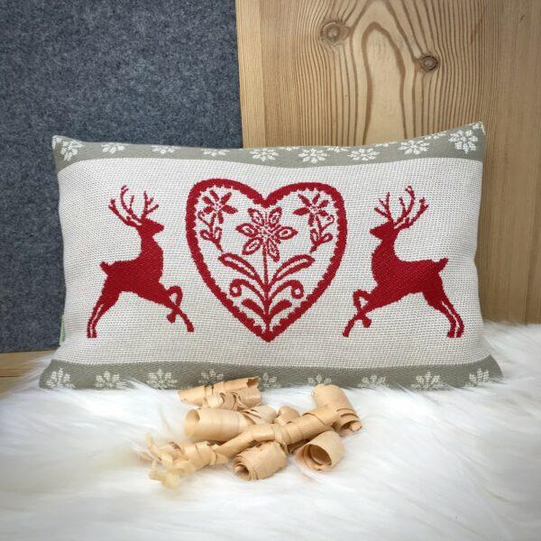 """""""Cervi e Cuore"""" cuscino CIRMOLO, stile tirolese montagna, 100% cotone, 22 x 35 cm, colore rosso e beige"""