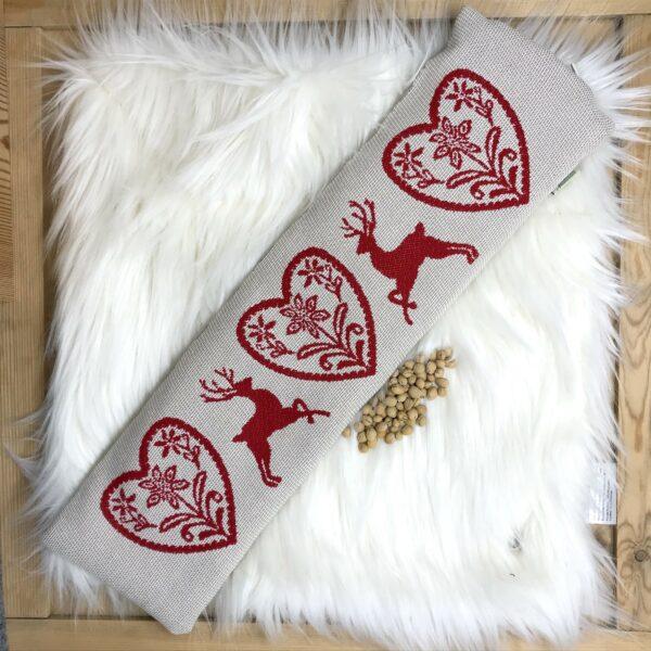 """""""Cervi e Cuore"""" Cuscino Natalizio con NOCCIOLI DI CILIEGIA per la cervicale, stile tirolese montagna, 100% cotone, 50 x 14 cm, colore rosso e beige"""