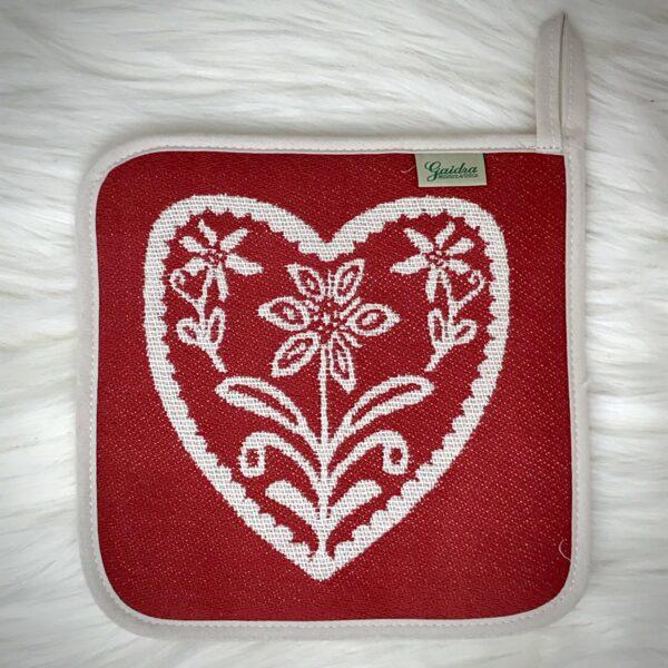 """""""Cervi e Cuore"""" presina, stile tirolese montagna, 100% cotone, 18 x 18 cm, colore rosso e beige"""
