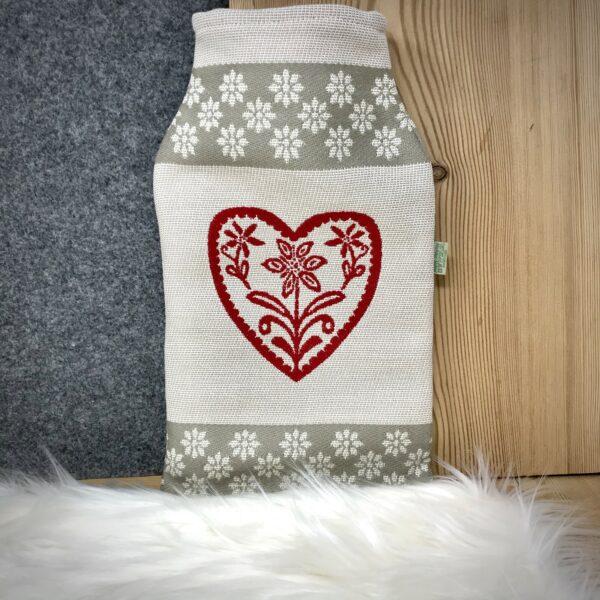 """""""Cervi e Cuore"""" borsa dell' acqua, stile tirolese montagna, 100% cotone, 22 x 33 cm, colore rosso e beige"""