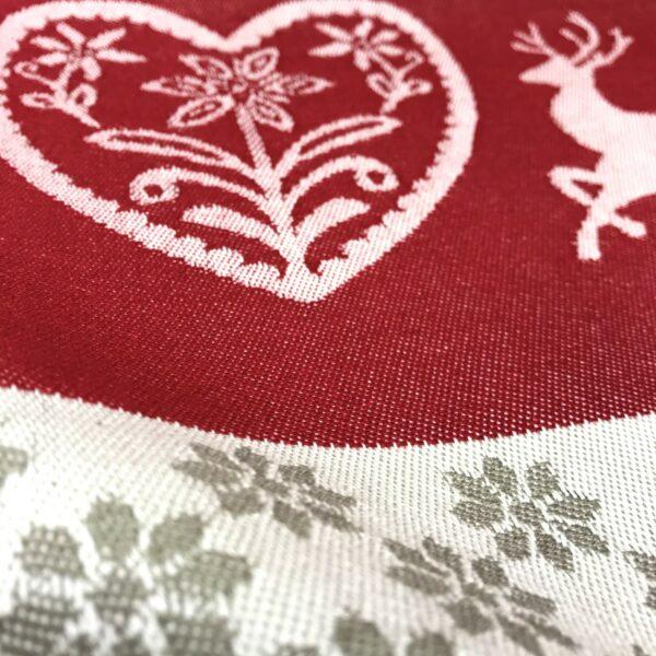 """""""Cervi e Cuore"""" cannovaccio, stile tirolese montagna, 100% cotone, 68 x 45 cm, colore rosso"""