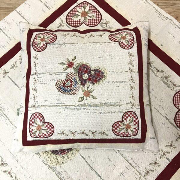 Cuscino federa in tessuto gobelin shabby chic, cuori e fiori, 44×44 cm, alpinestyle