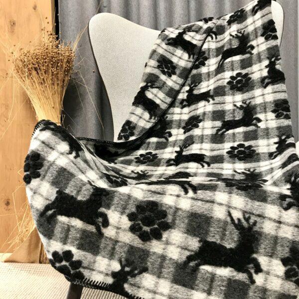 Coperta di lana scozzese con cervi, stile tirolese, colore grigio/antracite sfondo chiaro