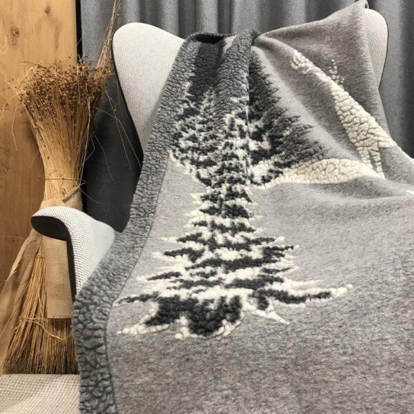 Coperta di lana, fantasia bosco invernale, stile tirolese, colore grigio