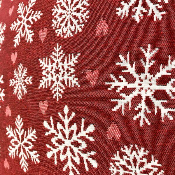 Cuscino Natale, fiocchi cristalli di neve, 44x44 cm, rosso