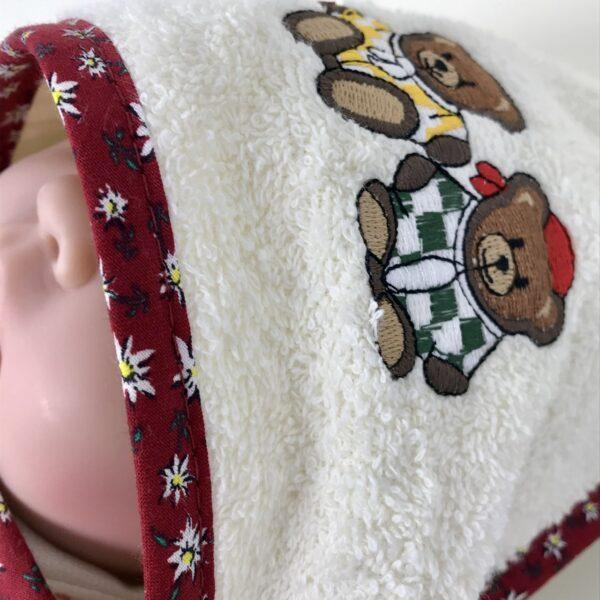 Accappatoio neonato, ricamo orsetti, spugna 100% cotone, bordo colore rosso